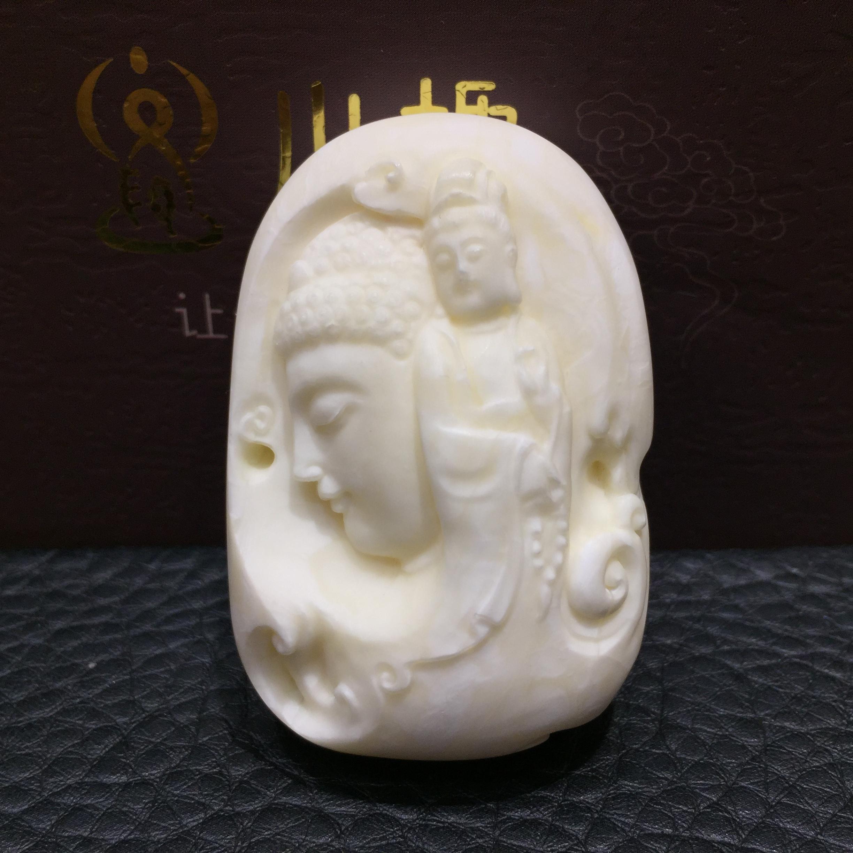 白蜜雕刻件 王海笑大师本工白蜜佛首观音雕刻件,没有人不爱白蜜大师